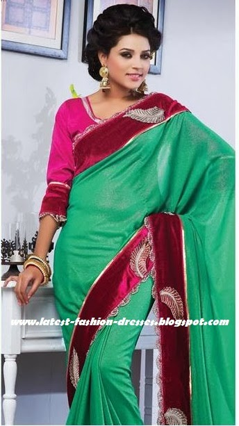 Green with pink designer saree