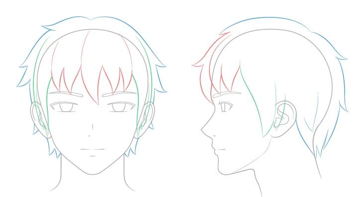 Anime menggambar rambut laki-laki kerusakan