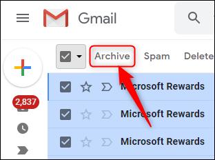 زر أرشيف Gmail