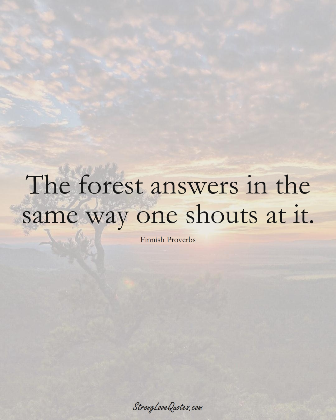 The forest answers in the same way one shouts at it. (Finnish Sayings);  #EuropeanSayings