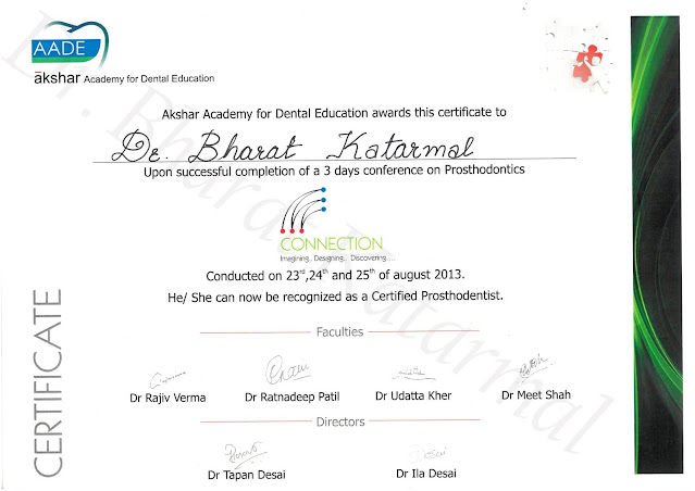 Certificate awarded to Dr. Bharat Katarmal for attending Conference on Prosthodontics