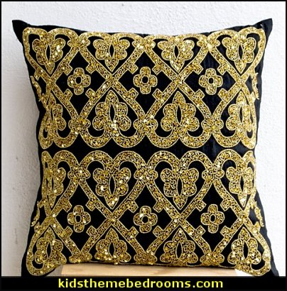 Gold Pillow, Throw Pillows Gold Beaded, Black Gold Beaded Pillows, Cushion Cover 18x18, Housewarming Gift, Christmas Decor