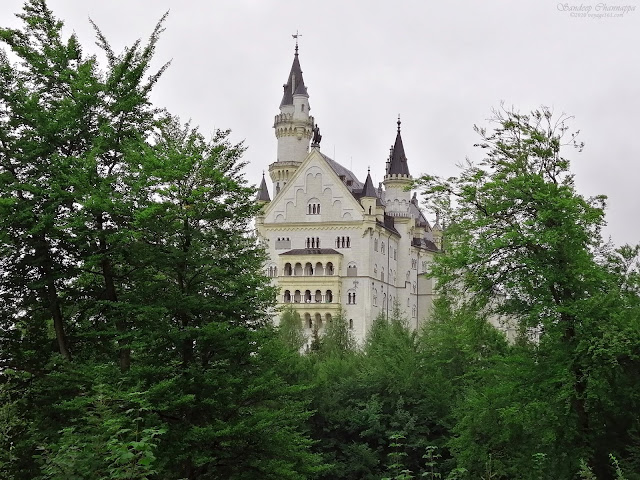 Rear view of the Neuschwanstein Castle