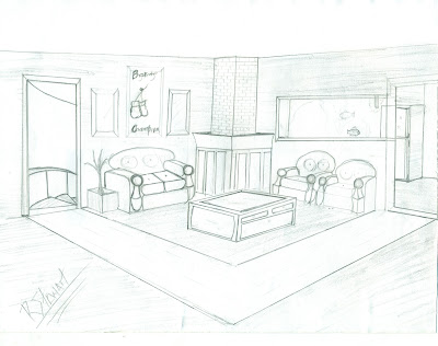 Key designer interior and perspective design 3rd post - Two point perspective living room ...