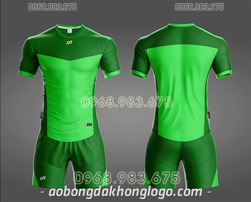 Áo bóng đá ko logo CP KC màu xanh lá