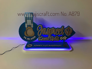 NO. A879 SAMOA TUIGA 21ST KEY 70CM - WHITE LED LIGHTS & KHANDA (Sikh symbol)