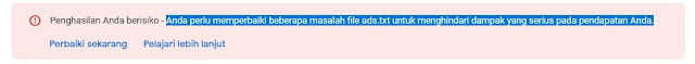 Warning Penghasilan Bermasalah Ads.txt