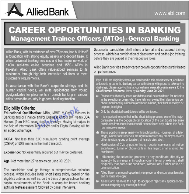 Allied Bank Limited ABL jobs 2021 Latest Advertisement