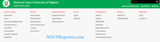 noun registrable courses drop down menu