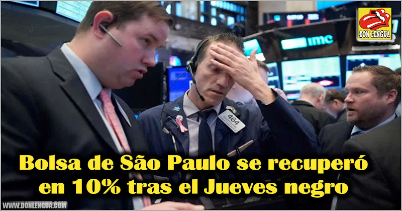 Bolsa de São Paulo se recuperó en 10% tras el Jueves negro