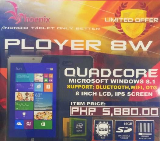 Phoenix Ployer 8W, 8-inch HD Windows 8.1 Tablet for Php5,880