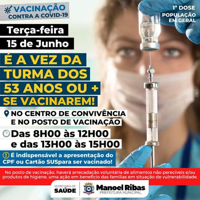Manoel Ribas: Pessoas com 53 anos já podem se vacinar contra Covid