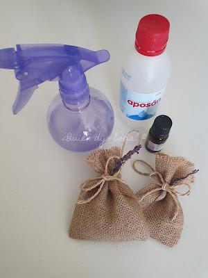 Vaporizador con agua, aceite esencial de lavanda, alcohol 96º y bolsa de lavanda
