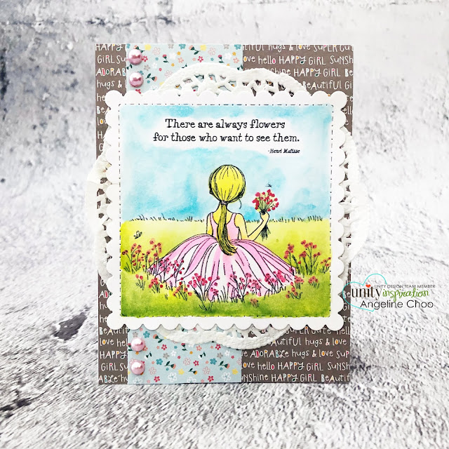 ScrappyScrappy: Unity Stamp with Graciellie Designs & Phyllis Harris - Happiness by choice #scrappyscrappy #unitystampco #gracielliedesign #phyllisharris #cardmaking #card #handmadecard #papercraft #rubberstamp #happinessbychoice #girlpickingflowers #flowerfield #doily #watercolor #watercolorpainting