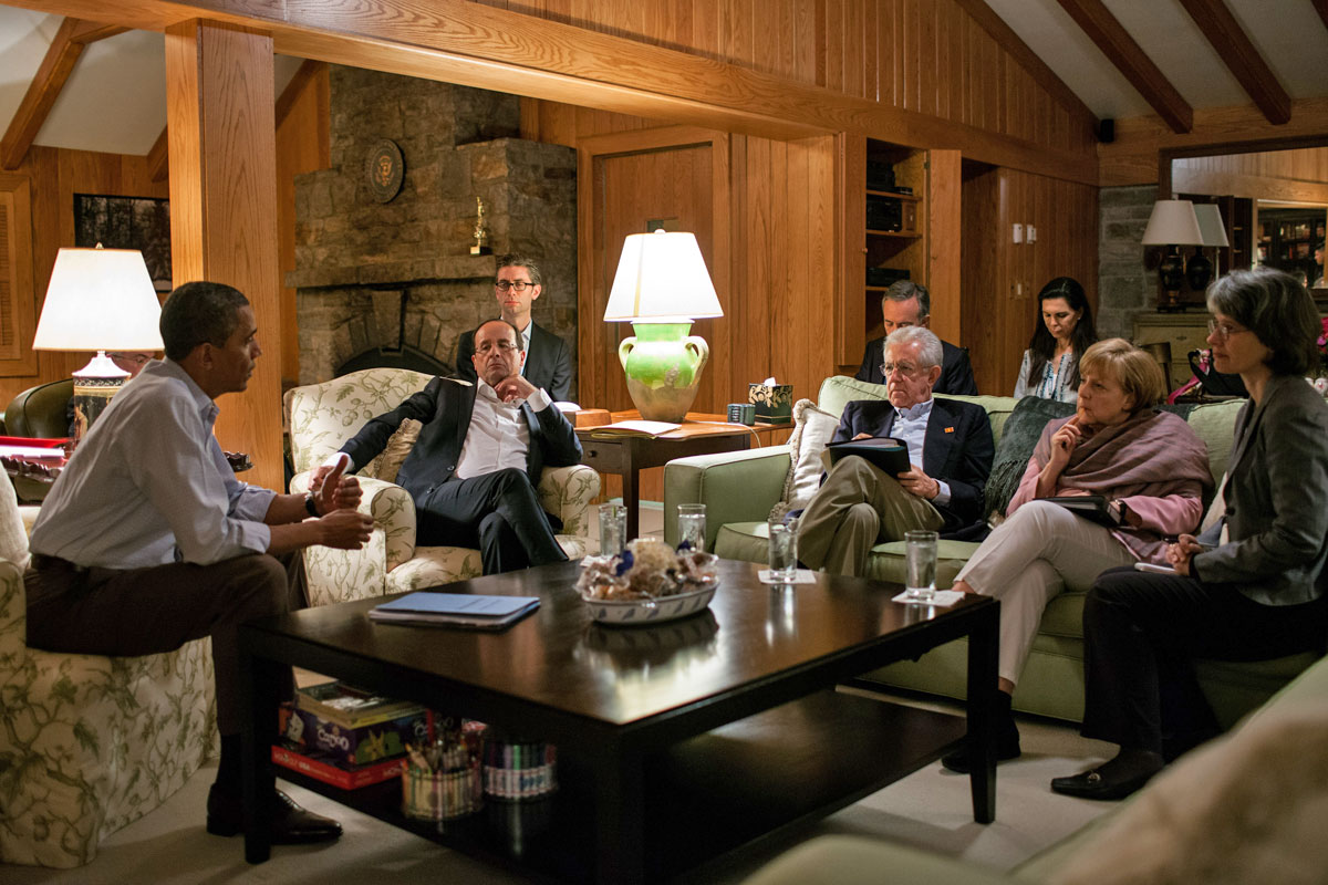 Attractive President Obama Meets With G8 Leaders In The Aspen Lodge In May 2012