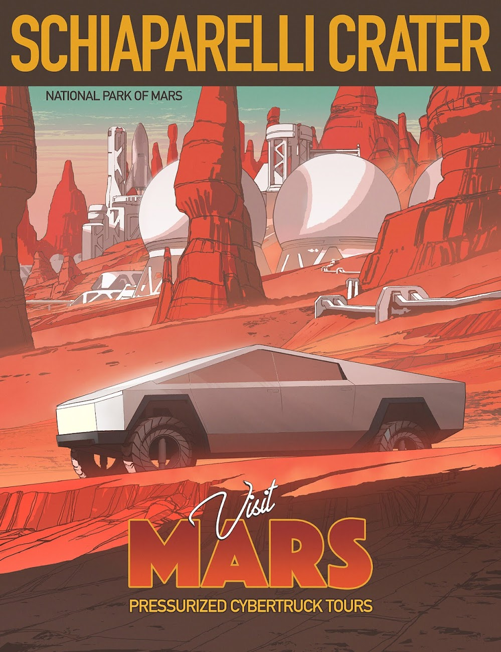 Poster of Tesla Cybertruck at Schiaparelli Crater on Mars by Darren Bacon