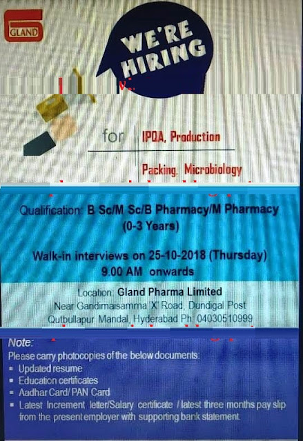 Gland Pharma Ltd Walk-In for Freshers & Experienced IPQA, Production, Packing, Microbiology at 25 October