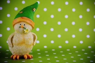 Pulcino con cappello verde