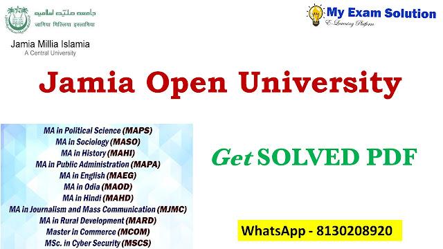 Jamia Open University Assignment 2020-21 ;  Jamia Open University Assignment 2021-22