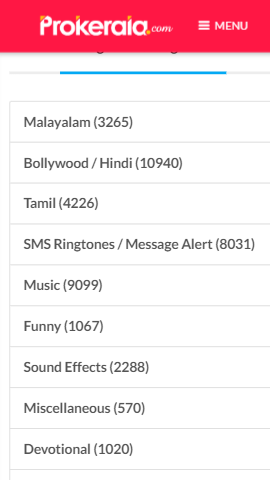 Prokerala-Free-Ringtone-Website