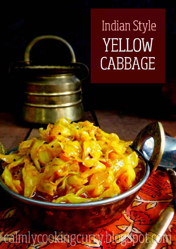 cabbage, easy, garlic, Indian, mustard, Recipe, simple, stir fry, turmeric, vegan, vegetarian, yellow,