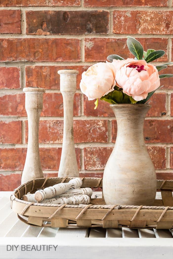 wood vase with peonies
