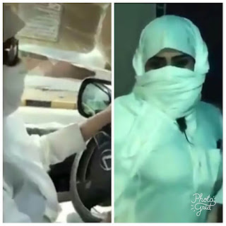 Saudi Woman dresses up like a man to drive car