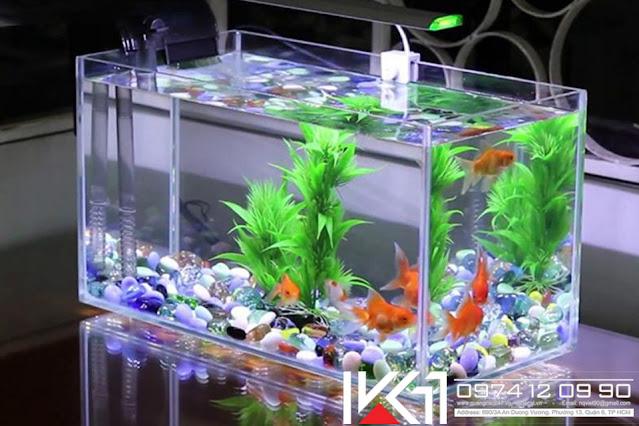 Bể cá mini phong thủy để bàn đẹp