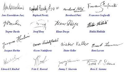 Firmas de algunos de los participantes en el II Campeonato Mundial Juvenil de Ajedrez (Copenhague, 1953)