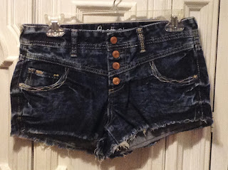 darkwash highrise denim shorts
