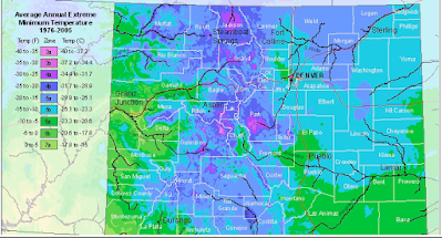 USDA Plant Hardiness Zones in Colorado Map