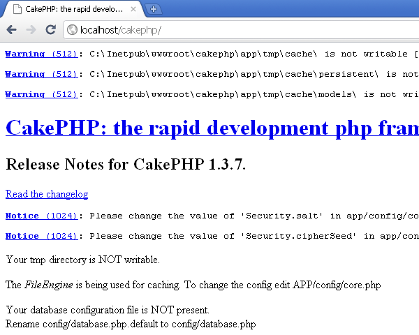 CakePHP on IIS - Before configuration