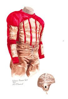 1925 Alabama Crimson Tide football uniform original art for sale