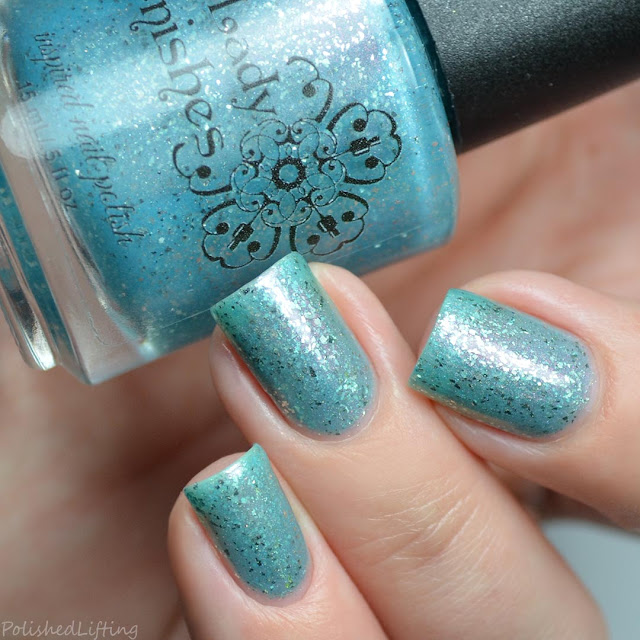 blue nail polish with red shimmer
