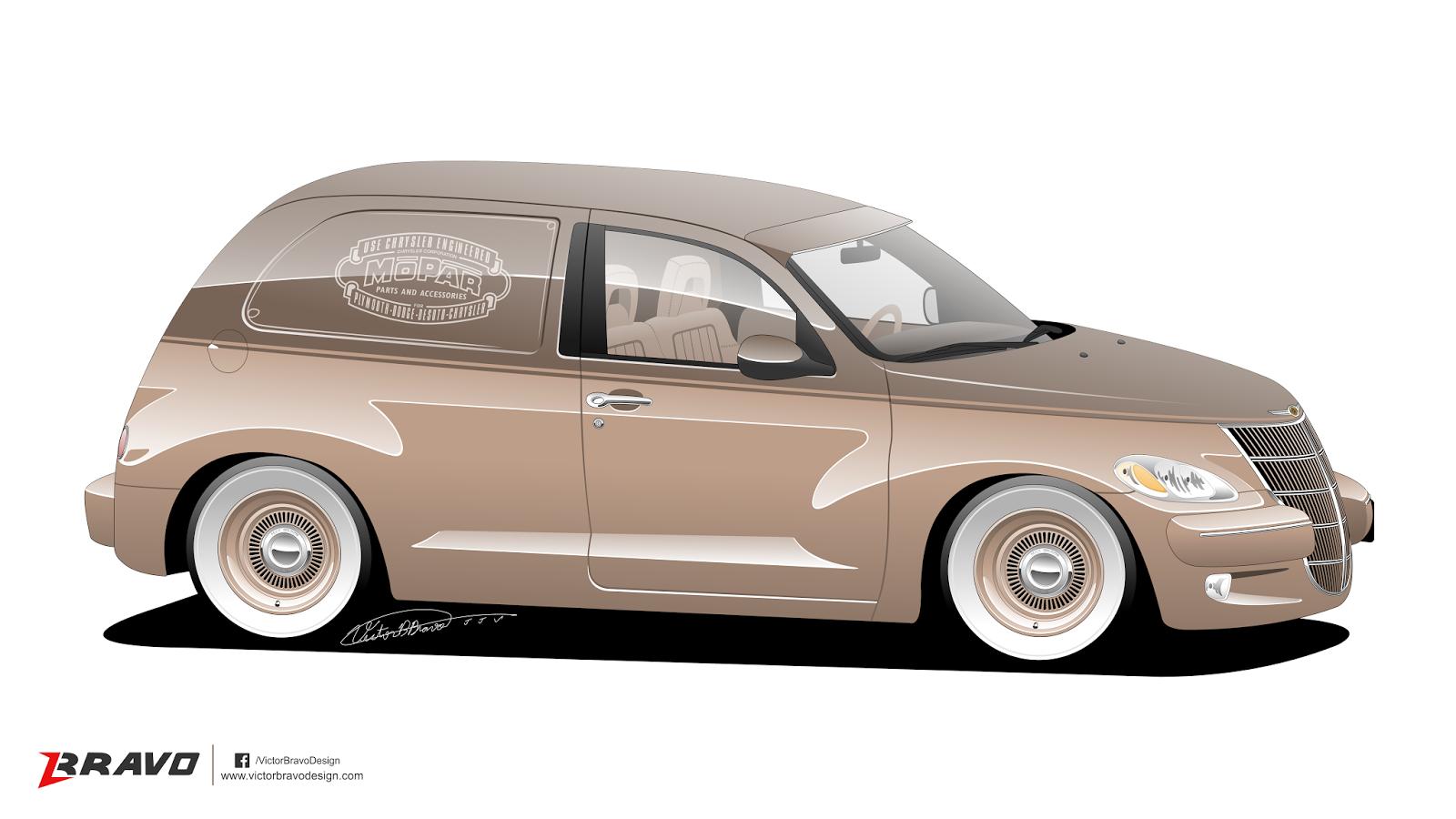 Imagem mostrando a dianteira do Chrysler PT Cruiser ''Retrovan''