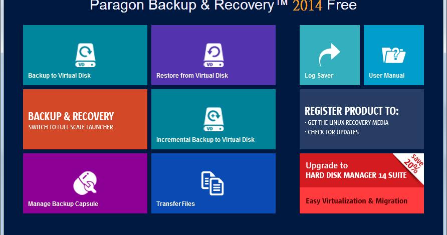 Paragon Backup & Recovery 2014 Free 10.1.21.638 - 免費硬碟備份還原軟體