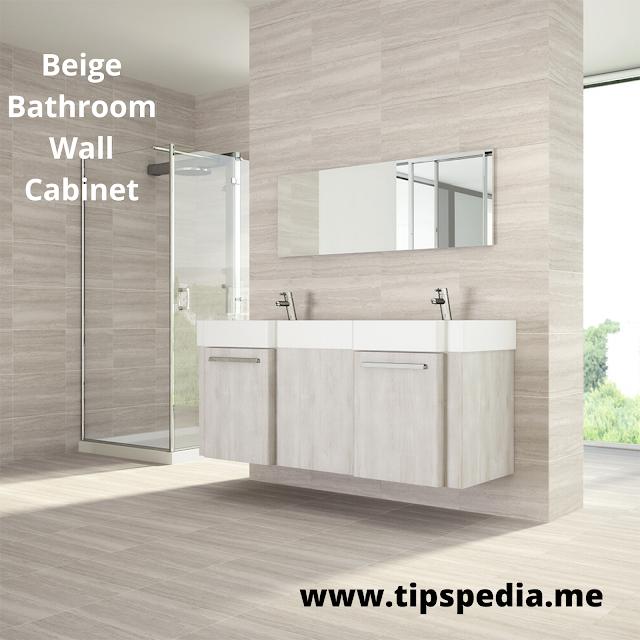 beige bathroom wall cabinet