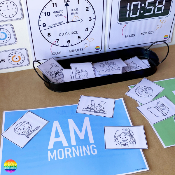 Learning to Tell Time Math Center Activity   you clever monkey