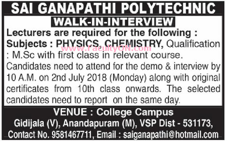 Sai Ganapathi Polytechnic College, Visakhapatnam, Lecturers