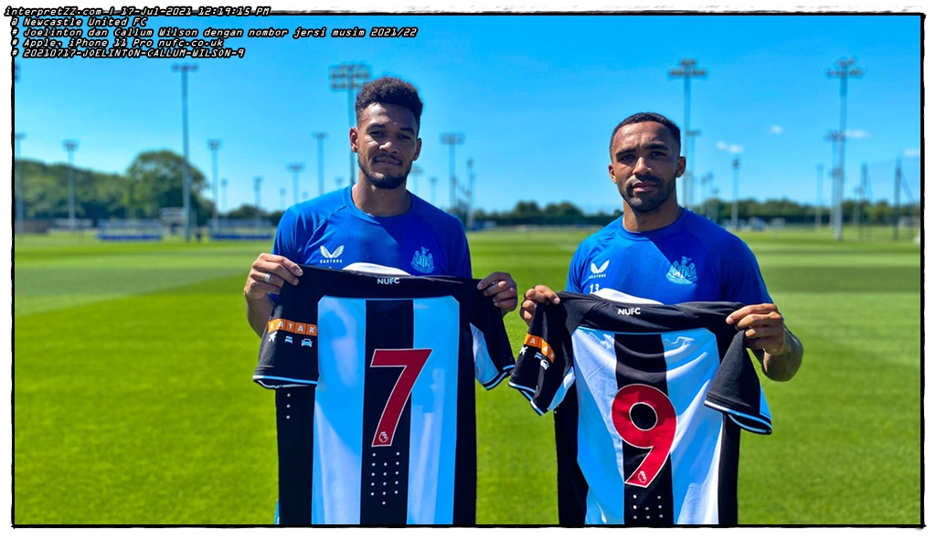 Joelinton and Callum Wilson pose with the new jersey numbers to be worn in English Football League matches in the 2021/2022 season.