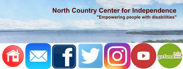 "Painted style landscape of Lake Champlain with social media icons below, and text: North Country Center for Independence ""Empowering people with disabilities"""