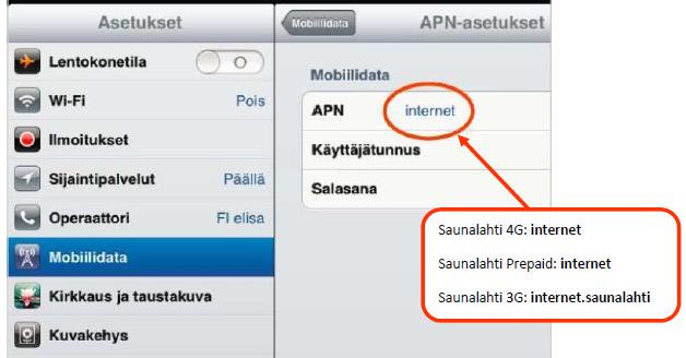 Elisa Internet APN Asetukset iPad iPhone