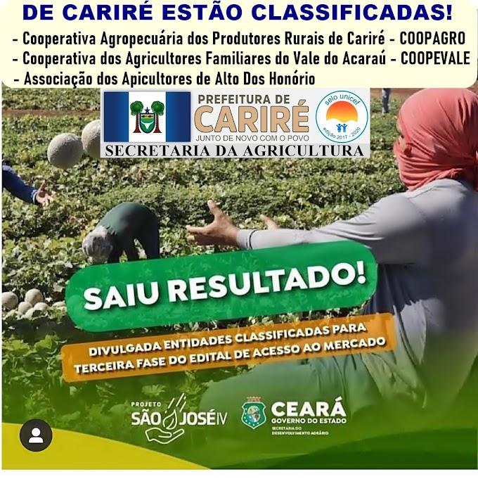 Três entidades de Cariré estão classificadas para terceira fase do edital de acesso ao mercado do Projeto São José IV