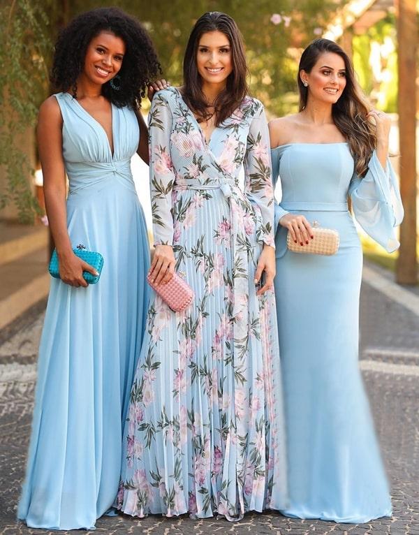 vestido azul serenity para madrinha de casamento