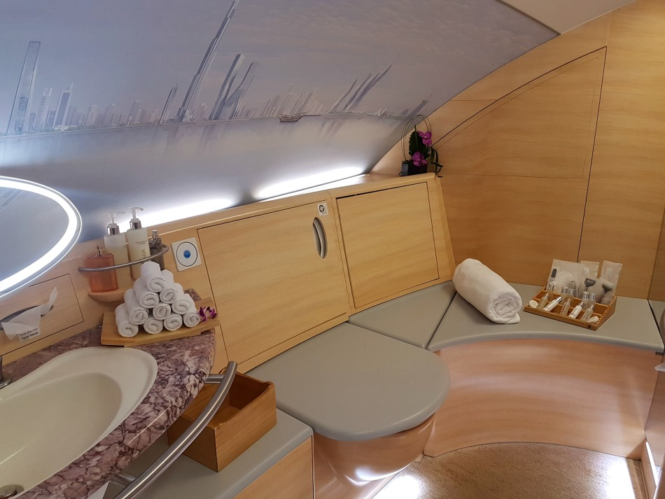 Emirates First Class Shower in the A380 Plane