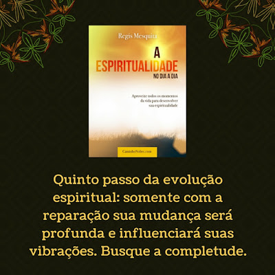 Quinto passo da evolução espiritual: somente com a reparação sua mudança será profunda e influenciará suas vibrações. Busque a completude. Livro A Espiritualidade no Dia a Dia