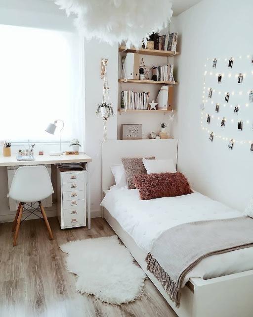 Desain Kamar Tidur 3×4 dengan Warna Cat Putih
