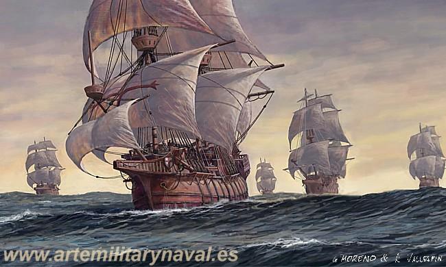 Galeones españoles navegando en convoy