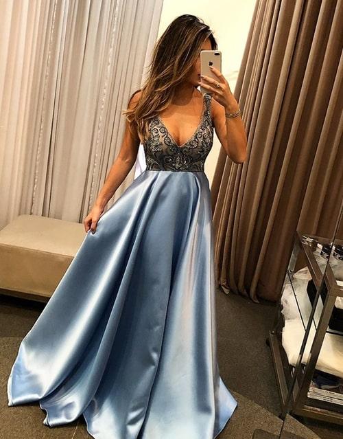 vestido longo azul serenity para madrinha