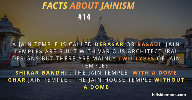 Jain temple Derasar or Basadimainly two types of Jain temples:  1) Shikar-bandhi  - with a dome 2) Ghar Jain temple  -without a dome